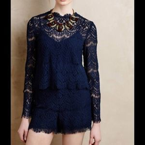 Saylor Layered Lace Romper Navy Blue Size S